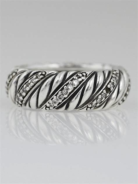 david yurman sterling silver and diamonds wide cable ring