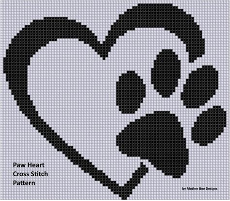 heart pattern for cross stitch paw heart cross stitch pattern by motherbeedesigns craftsy