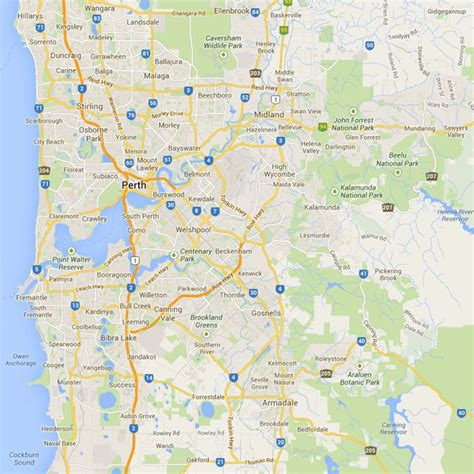 printable map perth city perth attractions map