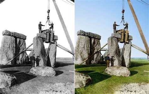 stonehenge construction 10 colorized photos of landmarks construction