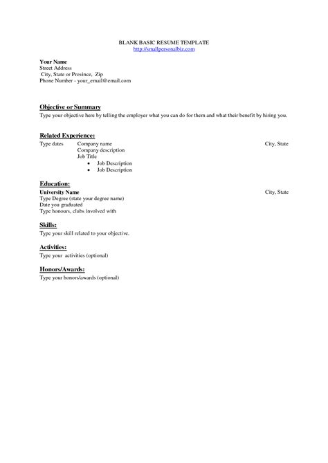 free basic resume template best photos of blank cv template blank resume templates