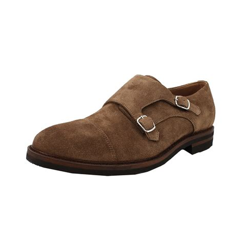 brunello cucinelli mens suede monk shoe in brown for