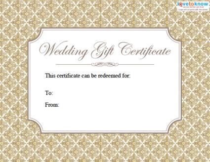 wedding present voucher ideas printable wedding gift certificates lovetoknow