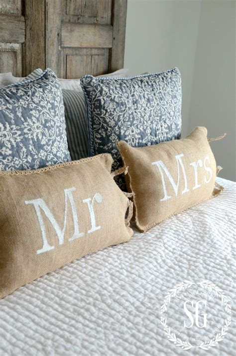 burlap pillows no sew mr and mrs burlap pillows stonegable
