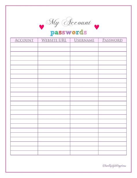 internet password organizer template book covers free printable password list free download aashe