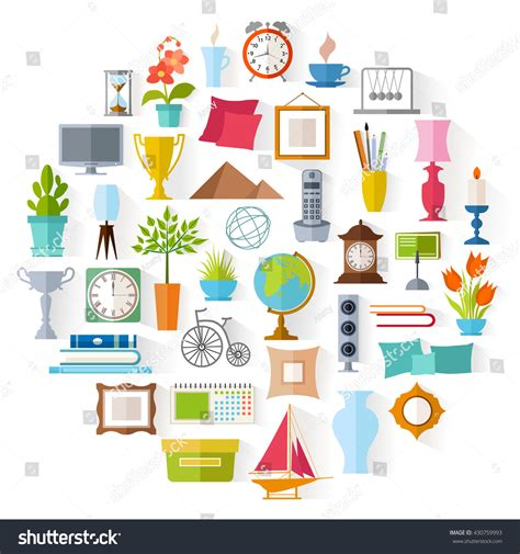 set home decor accessories icons souvenirs stock vector
