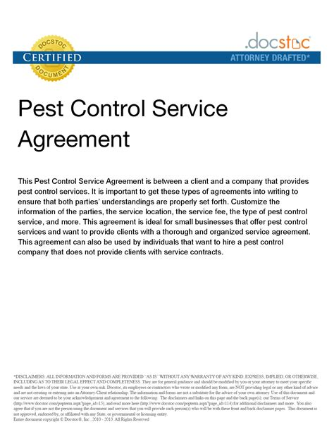 pest service agreement template agreement template category page 17 efoza