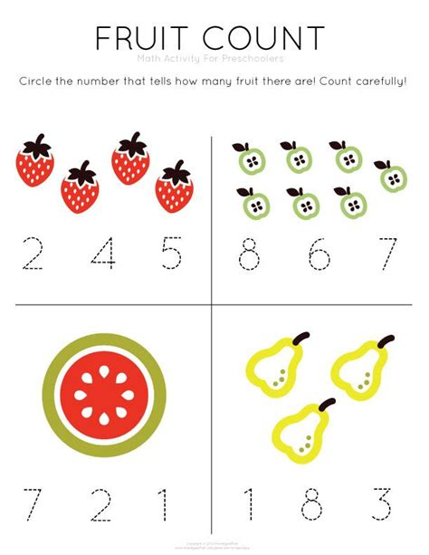 Math Worksheets For Preschoolers by Template Tuesday Fruit Count Gt Work On Counting And