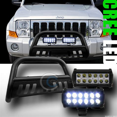 Jeep Commander Light Bar Matte Blk Bull Bar Guard 36w Cree Led Fog Lights 2005