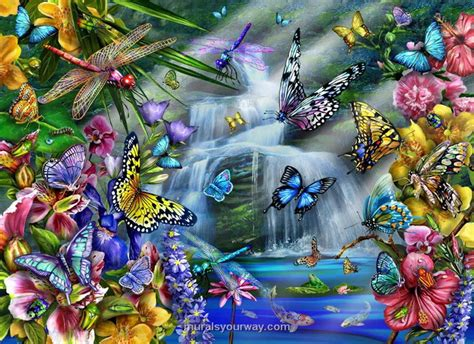 butterfly wall murals butterfly waterfall wall mural wallpaper mural ideas 13451