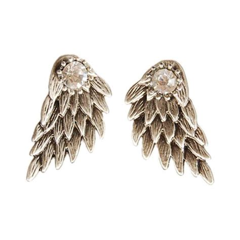 wings rhinestone stud earrings pluto99