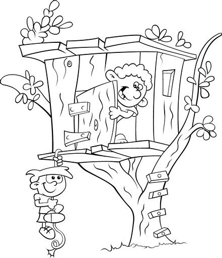 Children Playing In Tree House Coloring Color Area Tree House Coloring Pages