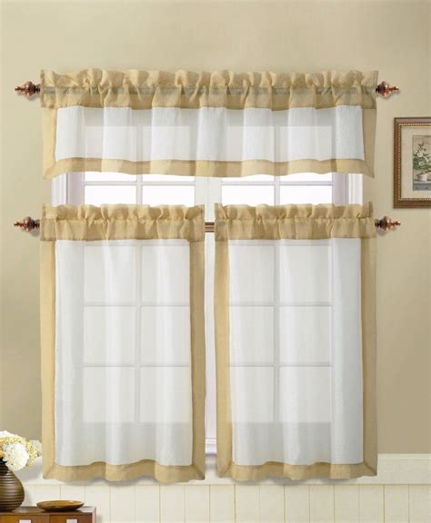 Window Valance Curtains Kitchen Window Curtain Set 2 Tier Panels 1 Valance Beige With Gold Border Ebay
