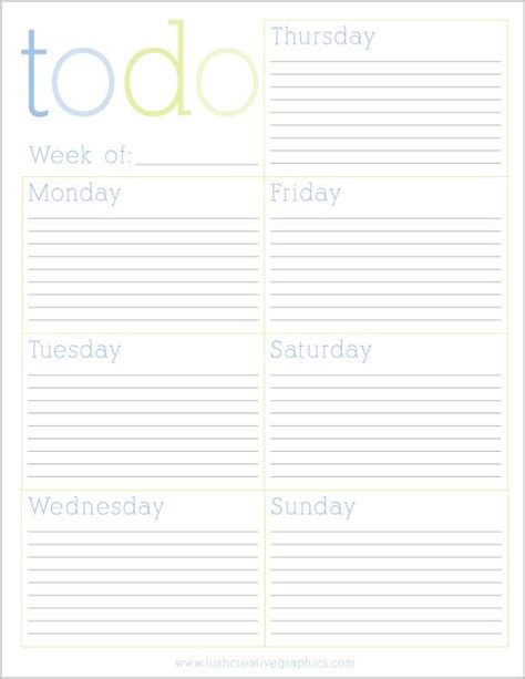printable weekly planner with to do list free printable weekly to do list from lush creative