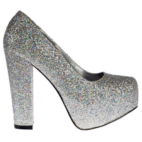 onlineshoe sparkly silver block heel concealed platform