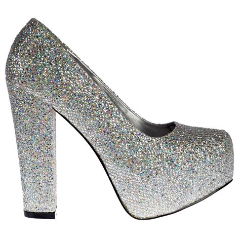 sparkly shoes onlineshoe sparkly silver block heel concealed platform