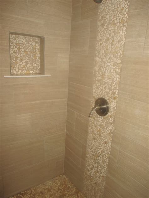 Pebble Tiles Bathroom Shower 12 X 24 Porcelain Tile With Pebble Stone Yelp
