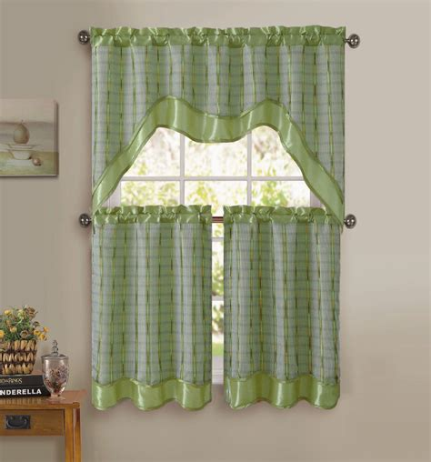 sage green 3 pc kitchen window curtain set double layer