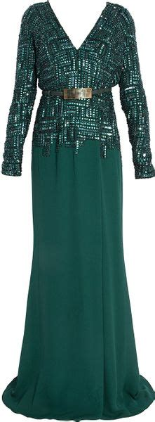 beaded ls elie saab ls beaded crepe skirt gown in green lyst