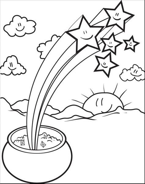 gold star coloring page rainbow and pot of gold coloring pages with stars