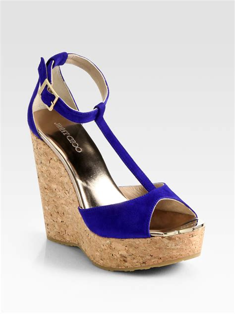 jimmy choo pela suede tstrap cork wedge sandals in blue