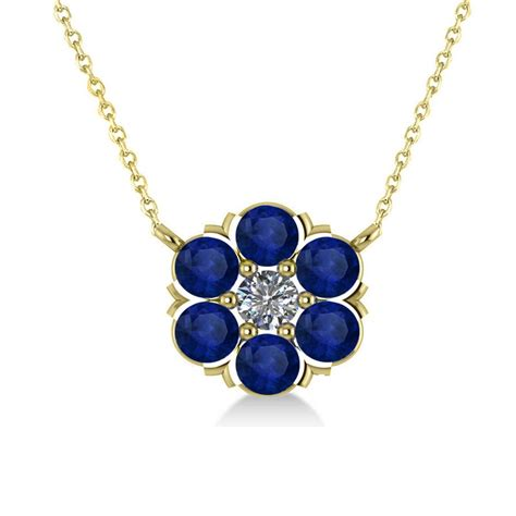 Blue Safir 1 1 blue sapphire cluster pendant necklace 14k