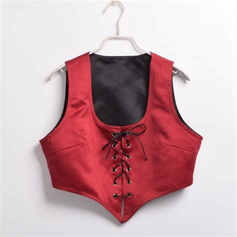 2017 reversible lace up corset vest vintage pirate wench bodice costume dress up