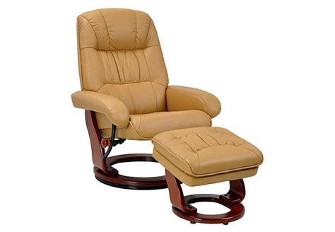 Benchmaster Swivel Recliner Chair Ottoman Set Leather