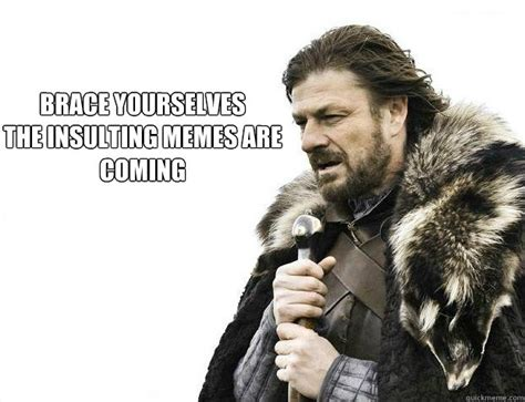 Brace Your Self Meme - brace yourselves the insulting memes are coming brace