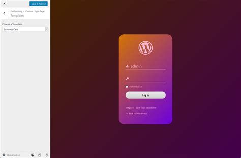 if page template custom login page templates cozmoslabs