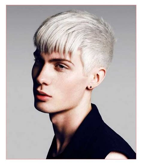 platinum blonde hair guys top bangs mens short haircut styles together with mens tapered hair