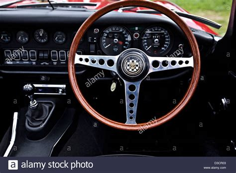 jaguar steering wheel up of steering wheel jaguar e type stock photo