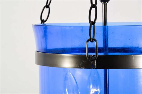 Glass Jar Light Fixture 1940 S Blue Glass Bell Jar Fixture At 1stdibs