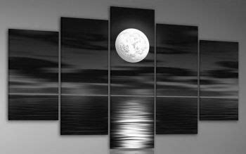 moon home decor sea white full moon night landscape oil painting on canvas