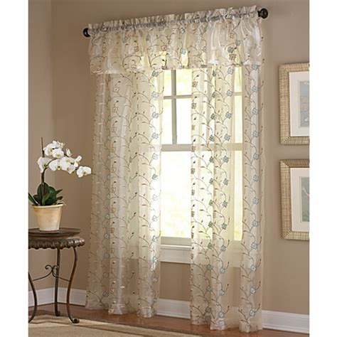 embroidered window curtains amberly embroidered leaf rod pocket sheer window curtain