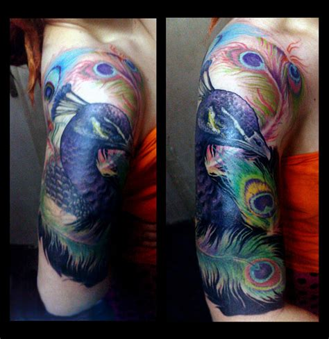 peacock sleeve tattoo designs peacock5 by fieldeee on deviantart