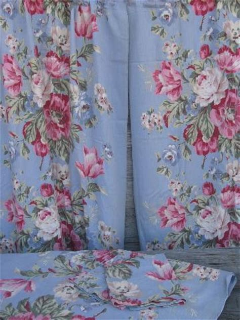 floral print drapes vintage 40s 50s cotton print curtains drapes w chinese