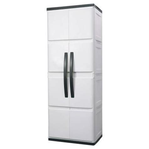 Hdx 26 In Plastic Cabinet Discontinued 194983 The Home Home Depot Storage Cabinets With Doors