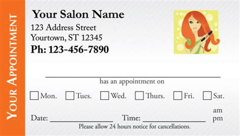 Hair Salon Appointment Card Template by Hair Salon Appointment Cards Appointmentcardcentral