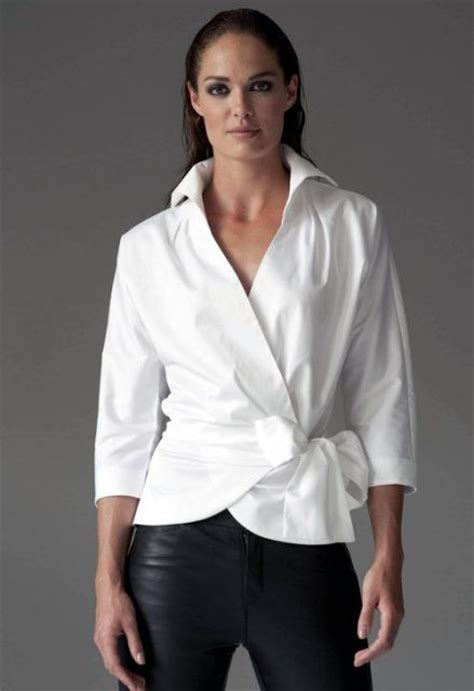 Crisp Feminine Top 4 by Picture Of Feminine With A Wrap Front Blouse 4
