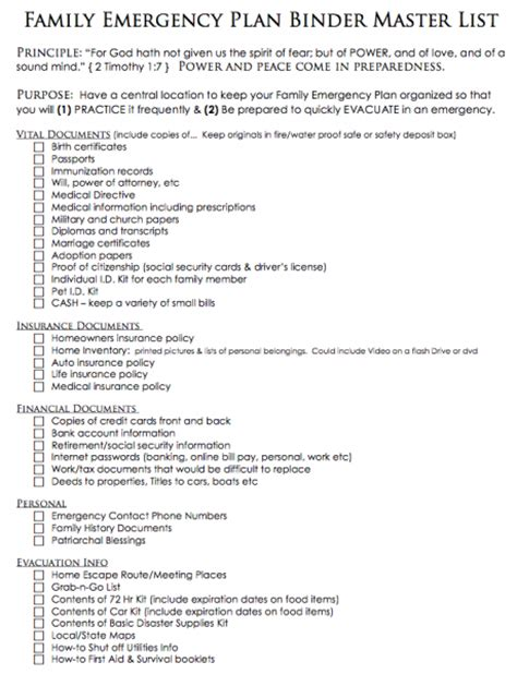 family emergency plan template template family emergency binder just b cause