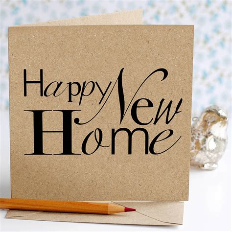 typographic happy new home card by the green gables