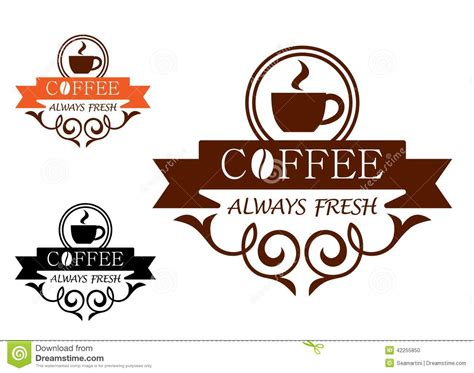 The Illustrations Below Show How Coffee Is Sometimes Produce Testbig by Coffee Always Fresh Vector Label Stock Vector Image 42255850