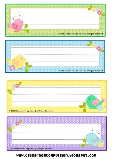 printable desk name tags for kindergarten free bird name plates preschool ideas pinterest