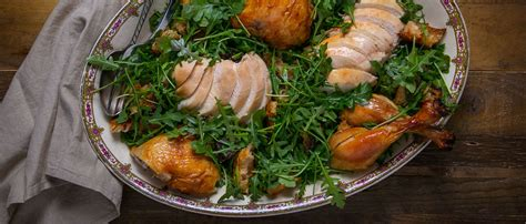roast chicken with bread arugula salad from make it ahead by ina how to make ina garten s roast chicken with bread and