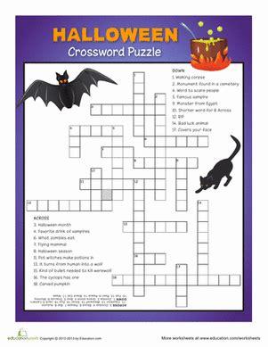 4 best images of halloween easy printable crossword halloween crosswords education com