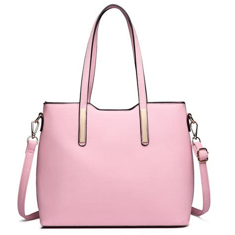 light pink tote bag lt6648 miss lulu three piece tote shoulder bag and