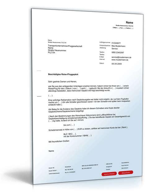 Brief Schreiben Muster Reklamation Reklamation Besch 228 Digung Reisegep 228 Ck Vorlage Zum