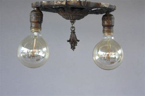 Antique 1920 Ceiling Light Fixtures Antique 1920s Two Light Ceiling Mount Light Fixture At 1stdibs