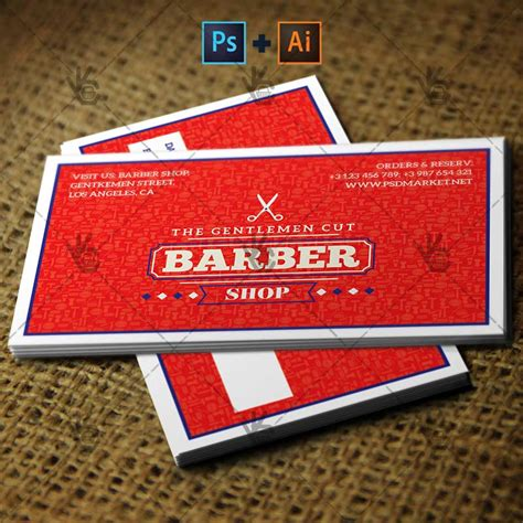 shop business cards templates barber shop premium business card psd ai template